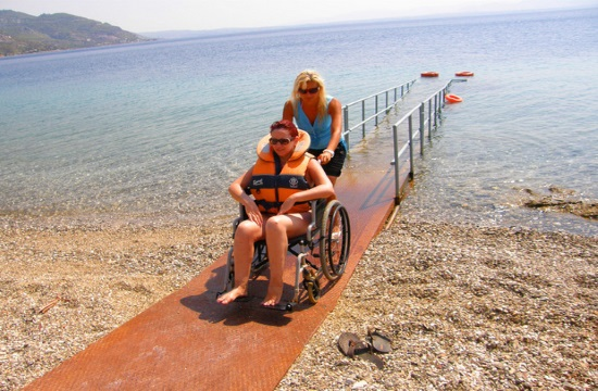 Greek Minister visits beach for persons with disabilities in Voula suburb of Athens