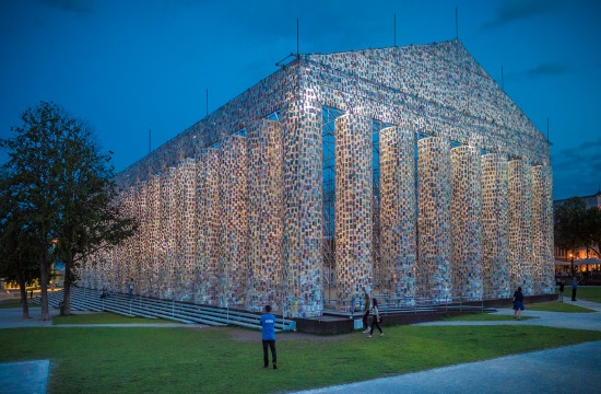 Video installation of Parthenon of Books among exhibits at LA Art Show