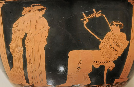 Antique musical instruments at Ancient Nikopolis Museum in Greece