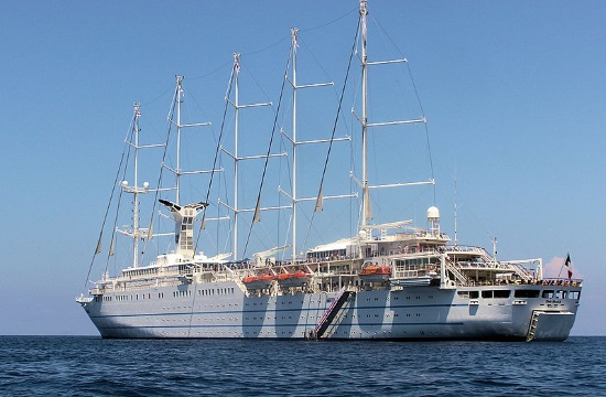 'Club Med 2' sailing cruise ship docks in Greek port of Volos