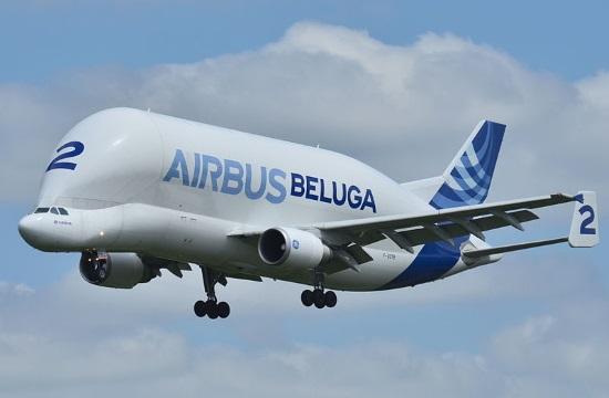 """Giant """"Beluga"""" plane lands at Athens International Airport"""