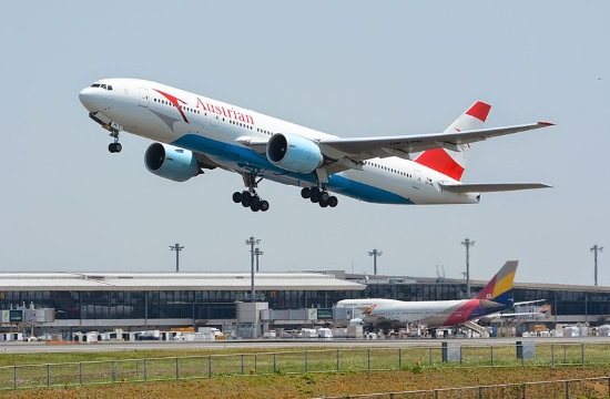 New Boeing 777 of Austrian Airlines lands in Vienna for the first time