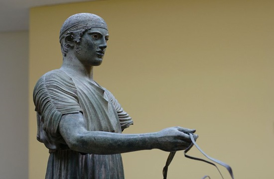 Ancient bronze sculpture of Delphi Charioteer shows Polyzalus of Gela in moment of victory
