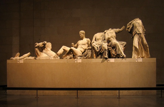 Greek Olympians protest Elgin Marbles by dressing as Caryatids in British Museum