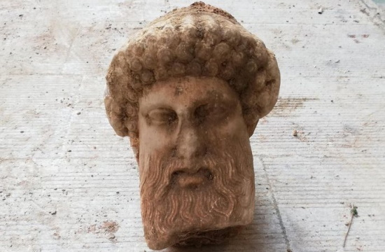 Hermes head, part of Herma column unearthed  during roadworks in Athens