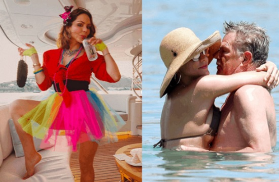 Katharine McPhee parties in Mykonos with fiancé David Foster ahead of wedding
