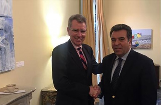 Greek opposition Tourism Sector head Manos Konsolas meets United States Ambassador Pyatt