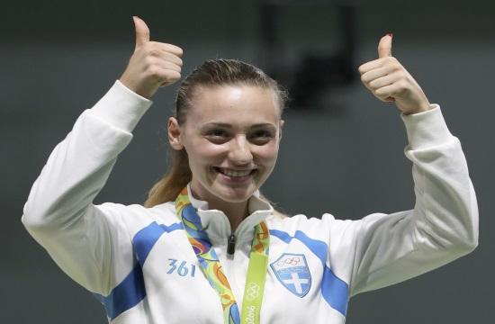 Greek Olympic winner Korakaki talks of her success while family celebrates