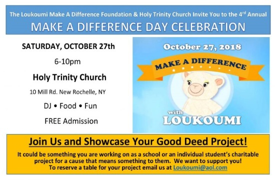 """Make a Difference Day"" with Loukoumi in New York on October 27"