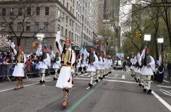 Greek Independence Parade in 5th Avenue of New York City (video)