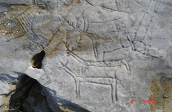 Ancient carvings scraped off rocks on Pangaion Hills by vandal gold-diggers