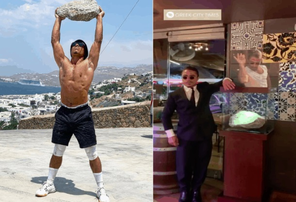 Turkish restaurateur Salt Bae takes Mykonian boulder back home (video)
