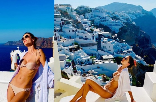 Top Model Alessandra Ambrosio enchanted by Santorini's mesmerizing beauty