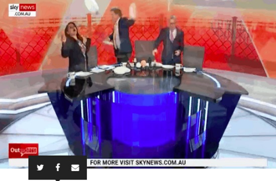 Sky News Australia show marks Greek election by dancing and throwing plates (video)