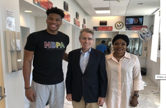 US Ambassador welcomes NBA MVP Giannis Antetokounmpo in Athens