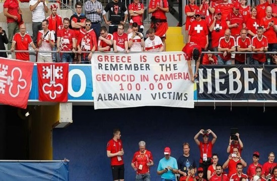 Greek Sports Minister condemns offensive Albanian banner at Euro2016