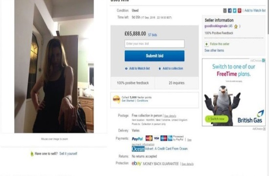 Prankster husband puts wife up for sale on e-Bay and bidders pay over £70,000