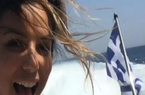 Video: Eva Longoria strolls along Mykonos island streets