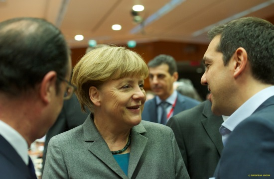 Greek PM cries foul to Merkel over IMF, presses for review and QE
