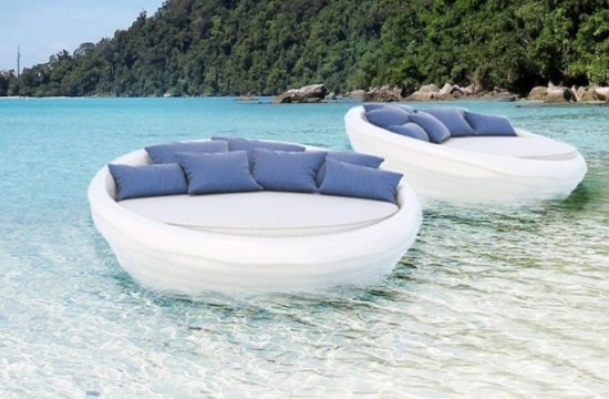 Greek designers create next generation of floating sunbeds out of fiberglass