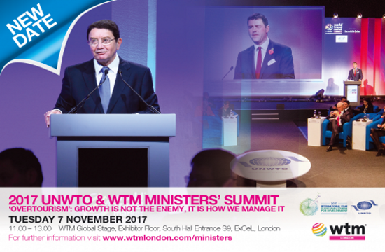 2017 UNWTO and WTM Ministers' Summit to focus on  'Overtourism'
