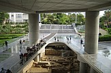 Walking in the ancient neigbourhood beneath the Acropolis Museum in Athens