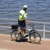 Bicycle police officers patrolling Rethymno city in Greek island of Crete