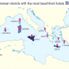 In Greece 5 out of  top 10 Mediterranean islands with most beachfront hotels