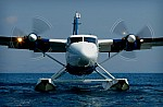 A 10-seat Quest Kodiak taking off from the port of Corfu to fly to Paxi and other Ionian islands