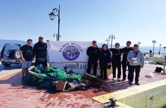We Dive We Clean: Ανέλκυση απορριμμάτων από το βυθό της μαρίνας Ελευσίνας