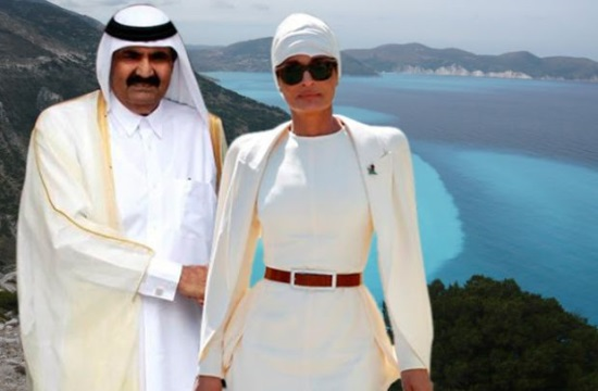 """Ο Εμίρης και η """"κυρία Valentino"""" θαυμάζουν το Domes Miramare Corfu"""
