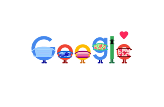 Τα γράμματα της Google φορούν μάσκα και κρατούν κοινωνική απόσταση