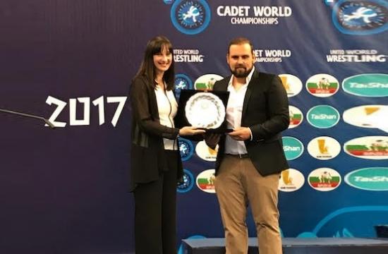 Η Ε. Κουντουρά στην έναρξη του Παγκόσμιου Πρωταθλήματος Πάλης Παίδων-Κορασίδων