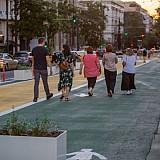 Όλο και περισσότεροι πεζοί και ποδηλάτες στις προσωρινές παρεμβάσεις του Μεγάλου Περιπάτου